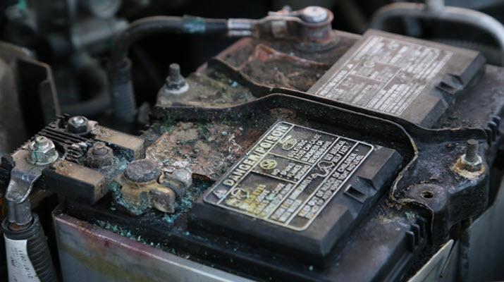Coroded Jaguar Battery